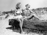 Two Women Drinking Soda on Beach Photographic Print by George Marks