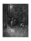Knight and Fairies Giclee-trykk av Gustave Doré