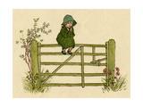 Little Child Sitting on a Fence Giclee-trykk av Kate Greenaway