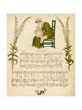 Illustration with Music, Sleeping Giclee-trykk av Kate Greenaway