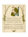 Illustration with Music, Sleeping Giclee Print by Kate Greenaway