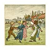Children Dancing in a Ring on Village Green Giclee-trykk av Kate Greenaway