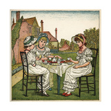 Three Young Girls Having a Tea Party Giclee-trykk av Kate Greenaway