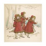 Three Girls in Snow 1900 Giclee-trykk av Kate Greenaway