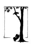 Koko the Dog Frightens a Kitten into a Tree Reproduction procédé giclée par Mary Baker