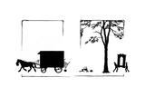 Horse Charges Off with Van Reproduction procédé giclée par Mary Baker