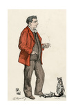 Francois Coppee and Cats Giclee Print by Paul Renouard