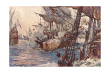 Sea Battle 1591 Giclee Print by Norman Wilkinson