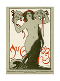 Jugend Front Cover, Naked Woman with Long Hair and Masks Giclee Print