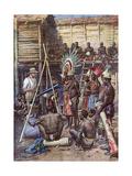 Recording New Guinea Gicléetryck av Achille Beltrame