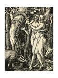 Adam and Eve Take the Apple in the Garden of Eden Giclée-tryk af Albrecht Dürer