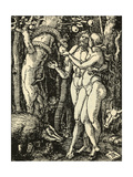 Adam and Eve Take the Apple in the Garden of Eden Giclee Print by Albrecht Dürer