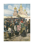Social, Russian Barter Gicléetryck av Achille Beltrame