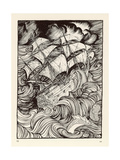 Message Found in a Bottle, Ship in a Storm Giclee Print by Arthur Rackham