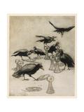 The Seven Ravens Reproduction procédé giclée par Arthur Rackham