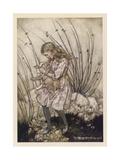 Alice Holds the Baby Pig Giclée-tryk af Arthur Rackham