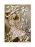 Alice: Cards Fly Up Giclee Print by Arthur Rackham