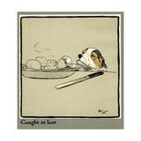 Forager the Puppy Sniffs at the Irish Stew Giclée-Druck von Cecil Aldin