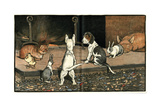 Forager the Puppy Joins the Other Animals by the Fire Reproduction procédé giclée par Cecil Aldin