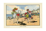 Playing on the Beach Giclee Print by Charles Robinson