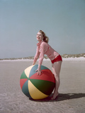 Girl with Beach Ball Photographic Print by Charles Woof
