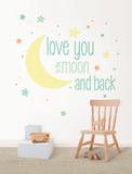 Love You to the Moon Quote Wandtattoo