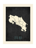 Costa Rica - Mapa negro Pósters por Rebecca Peragine
