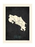 Mapa preto - Costa Rica Pôsters por Rebecca Peragine