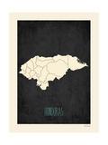 Mapa preto - Honduras Pôsteres por Rebecca Peragine