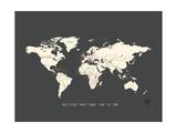 Carte noire et beige du monde, planisphère Affiches par Rebecca Peragine