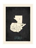 Guatemala - Mapa negro Láminas por Rebecca Peragine