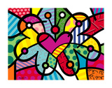 Heart Butterfly Posters van Romero Britto