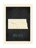 North Dakota - sfondo nero Stampa di Rebecca Peragine