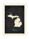 Michigan - sfondo nero Poster di Rebecca Peragine