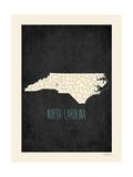 North Carolina - sfondo nero Stampe di Rebecca Peragine