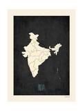 Mapa preto - Índia Posters por  Kindred Sol Collective