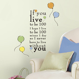 """Winnie the Pooh - """"Live to be 100"""" Peel and Stick Wall Decals Wallstickers"""