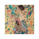 Kvinna med solfjäder Donna con Ventaglio Gicléetryck av Gustav Klimt