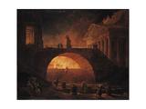 The Fire of Rome, 18 July 64 AD Reproduction procédé giclée par Hubert Robert