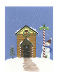 Log Outhouse Giclee Print by Debbie McMaster