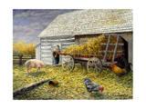 Pig and Chickens Giclée-tryk af Kevin Dodds