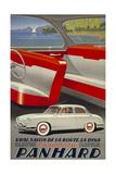 Panhard Automobiler by Mediterranean Beach Giclée-Druck