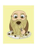 Papa Pasta Giclée-tryk af Steven Wilson