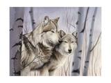 Two Wolves in the Birches Giclée-Druck von Rusty Frentner
