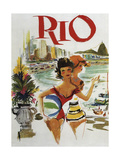 Rio Travel Poster Reproduction procédé giclée