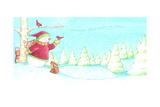 Snowman Bunnies Giclee Print by Melinda Hipsher