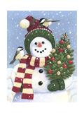 Snowman Holding a Christmas Tree Reproduction procédé giclée par William Vanderdasson