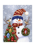 Snowman with Wreath Reproduction procédé giclée par William Vanderdasson