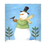 Snowman Green Blackbird Giclee Print by Melinda Hipsher
