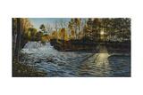Sunset at Wadsworth Falls Lámina giclée por Bruce Dumas